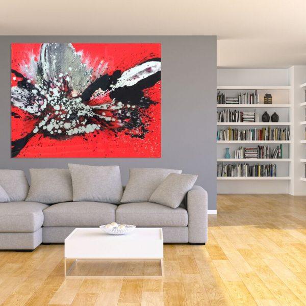 Red resin painting buy 'Siren' by Australian artist Jessica Baker