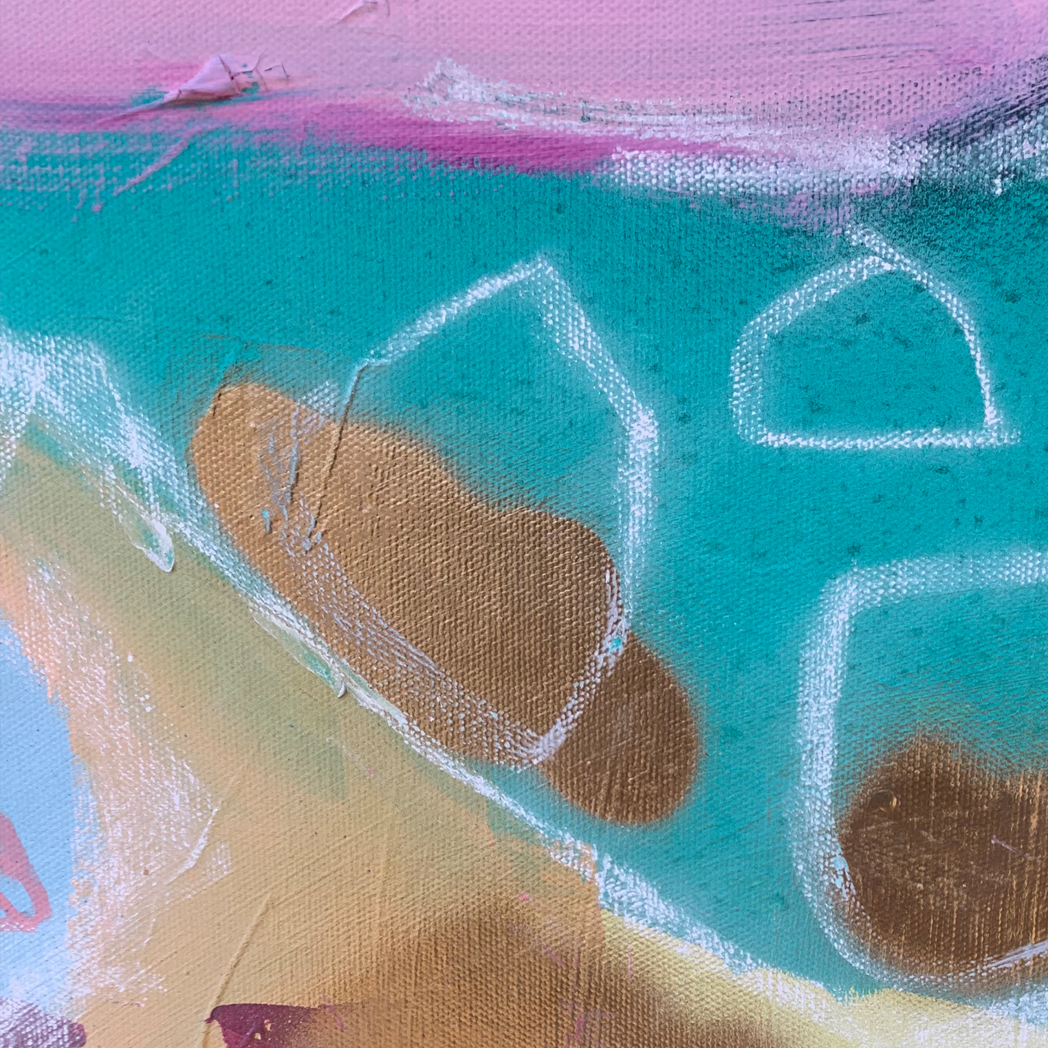 'Lion Heart' detail gold and soft pastel