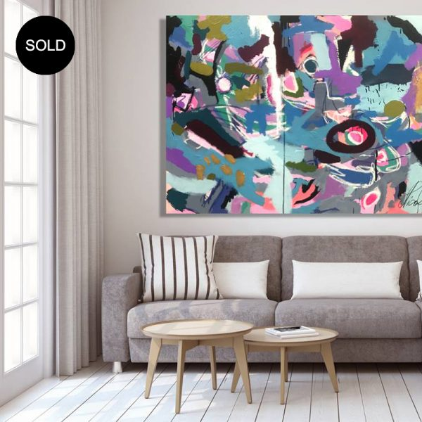 Paintings for sale online by Australian artist Nicole Baker, the Gruffalo is a large abstract artwork.