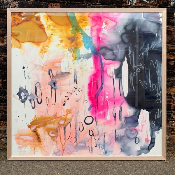 Buy big painting for home or office ready to hang 'Fanzine' 127x127cm framed in oak.