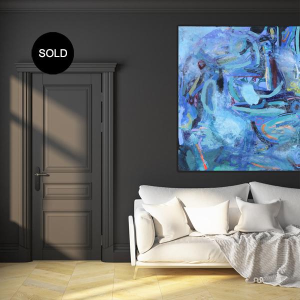 Large Canvas Art for Livingroom 'Royal Blue' by artist Nicole Baker