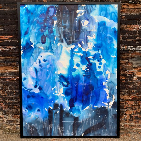 'Sauvage' is a large blue hue watercolour painting framed in black and ready to hang.