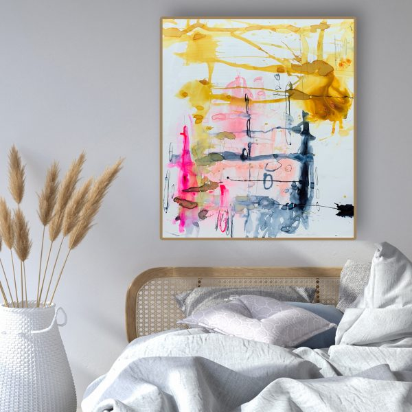 Abstract art buy, framed and ready to hang 'Happily Ever After' by Australian artist Jessica Skye Baker