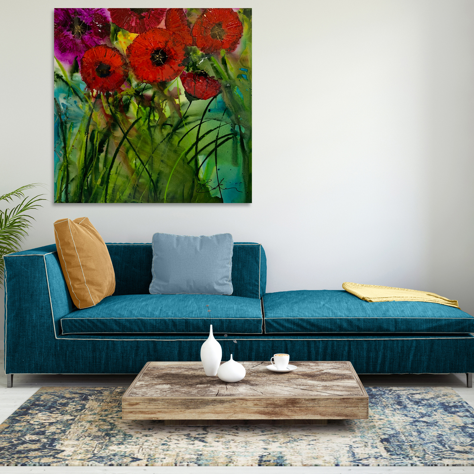 Abstract Poppy Paintings for sale by Australian artists Nicole Baker & Jessica Skye Baker