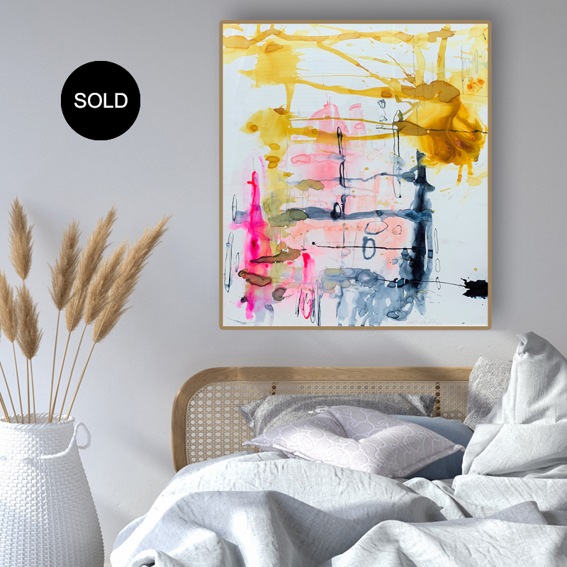 Abstract Art Buy 'Happily Ever After' abstract watercolour in oak frame by Australian artist Jessica Skye Baker