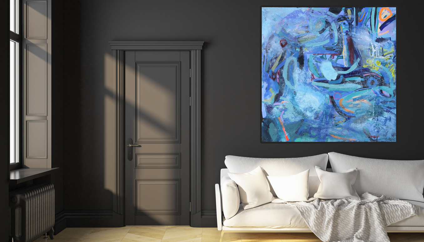 Large canvas art for your living room 'Royal Blue' 200 x 200 cm abstract painting on Belgium linen canvas.