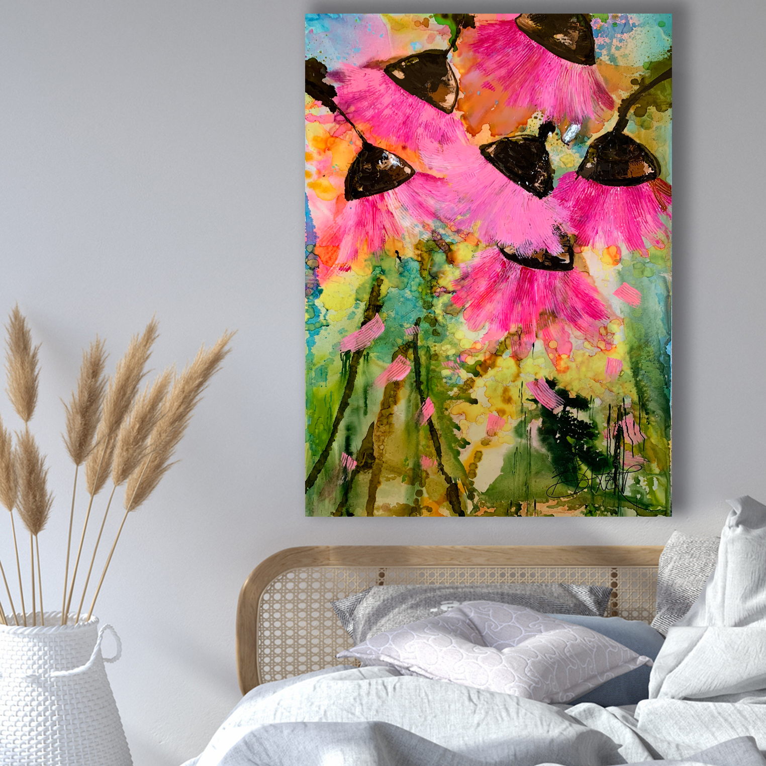 Abstract Floral Paintings Buy Gum Nuts by Australian Artists Nicole Baker & Jessica Skye Baker