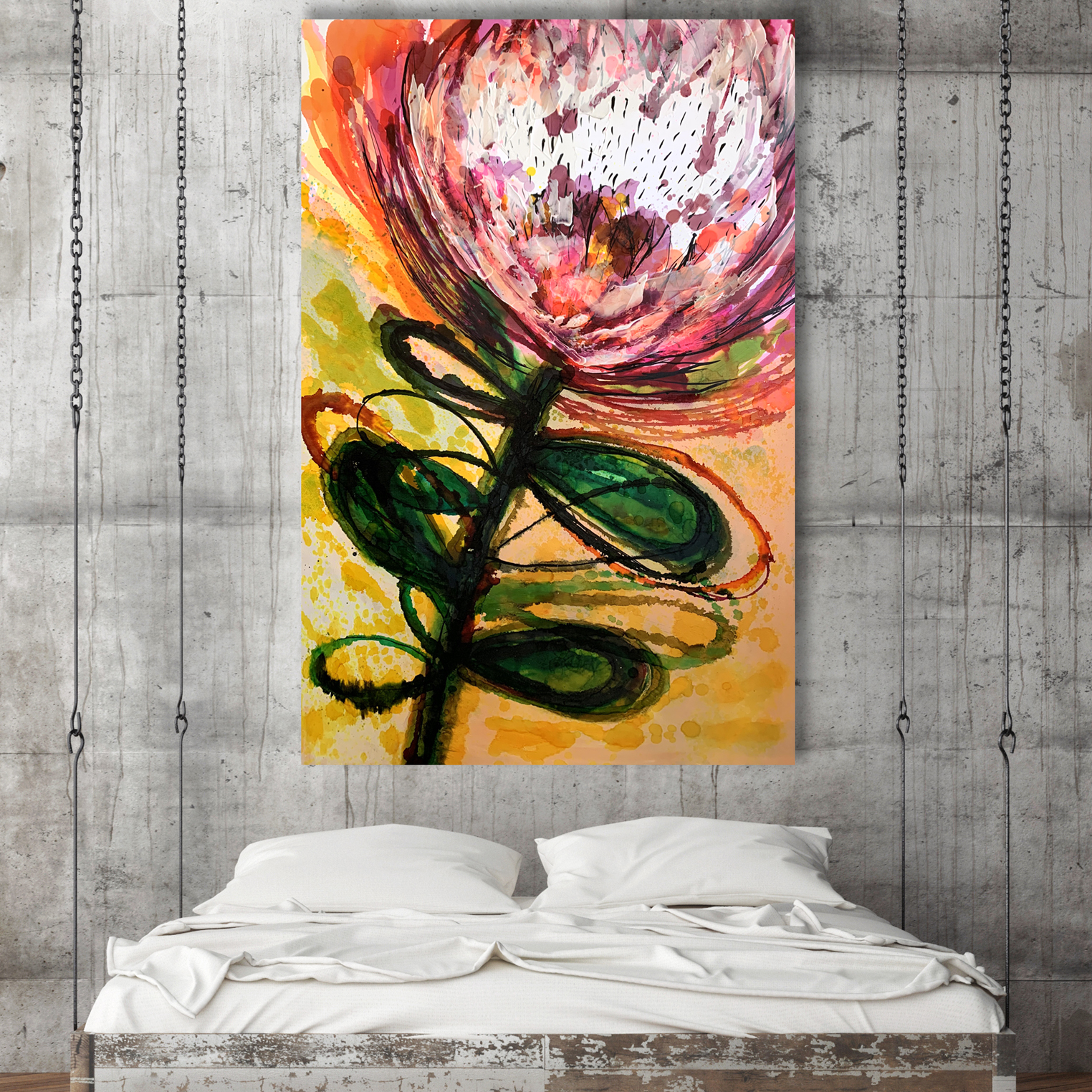 Original Abstract Floral Paintings for Sale 'Sugar Bush' by Australian artists Jessica Skye Baker & Nicole Baker