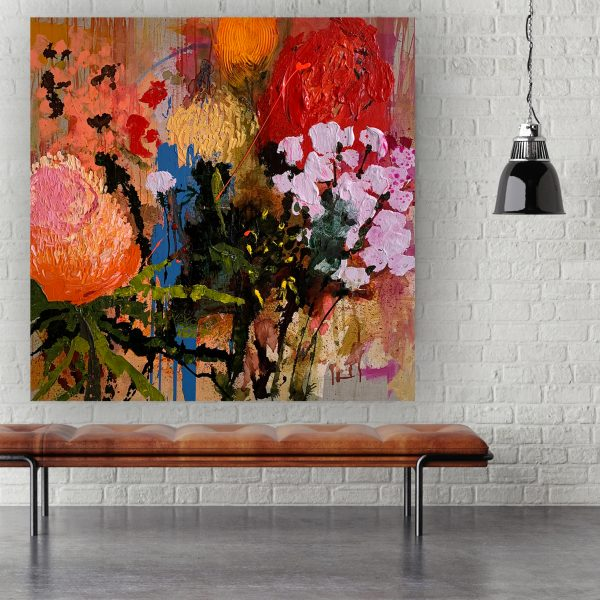 Abstract floral paintings at the Baker Collection 'Bare Bling' by artist Jessica Skye Baker