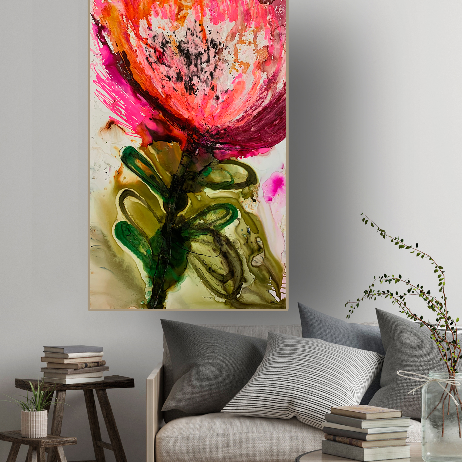 Abstract Protea painting 'Pretty in Pink' by Australian artist Jessica Skye Baker at the Baker Collection