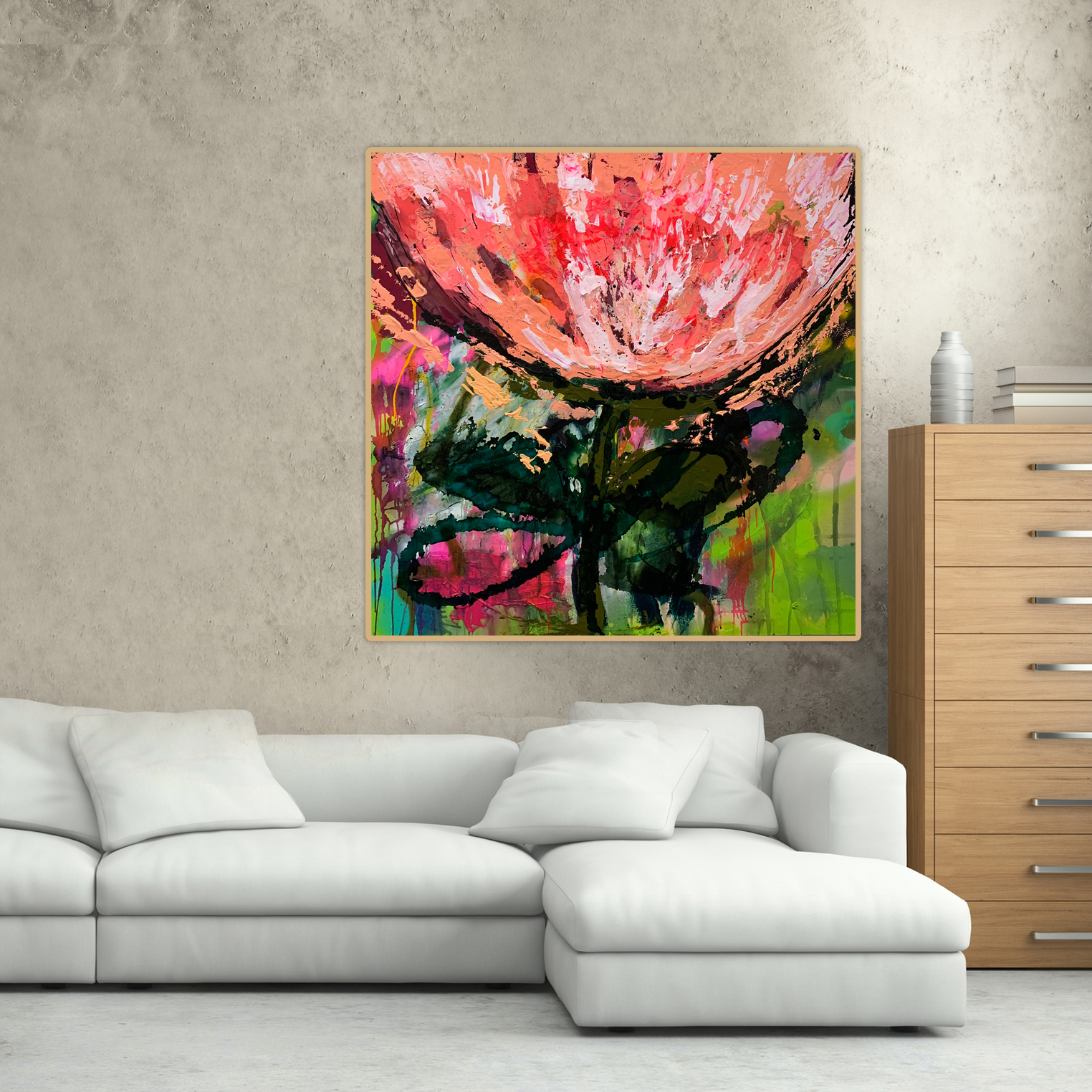 Abstract flower paintings for sale by artist Jessica Skye Baker