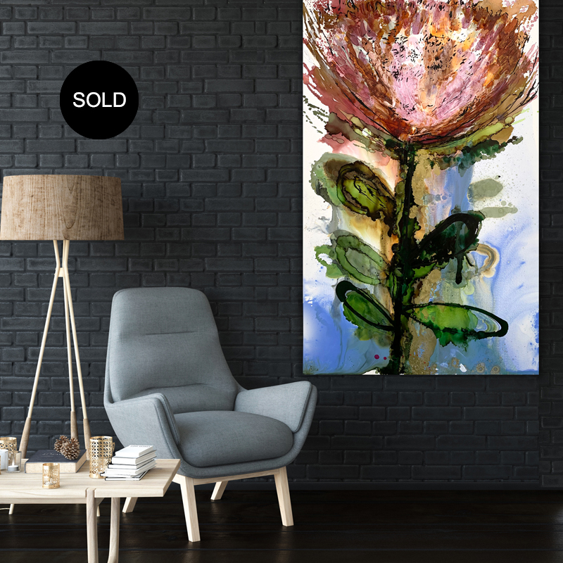 Abstract art for sale 'Protea King'