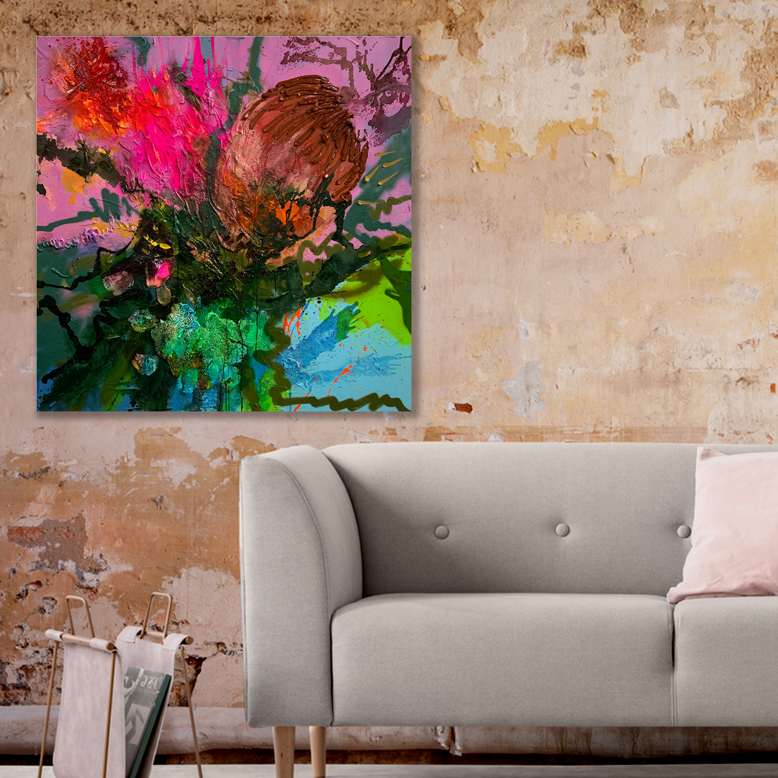 Big floral paintings 'Backstage' available at the Baker Collection