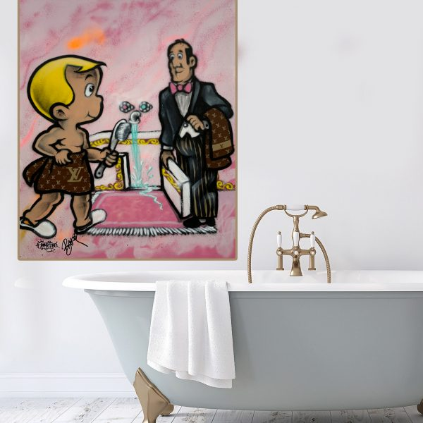 Street art buy Au Richie Rich Billionaire 'Bathroom Butler'