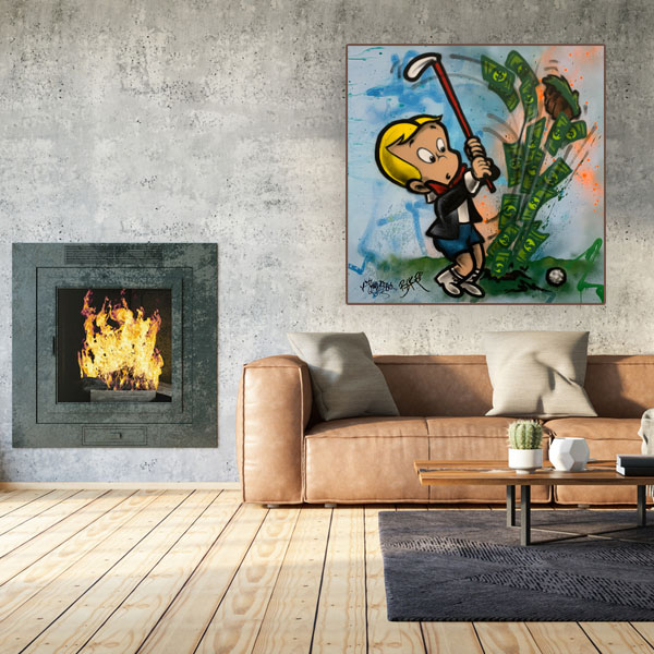 Graffiti Art Paintings for Sale 'Hole in One' Richie Rich Baker Collection