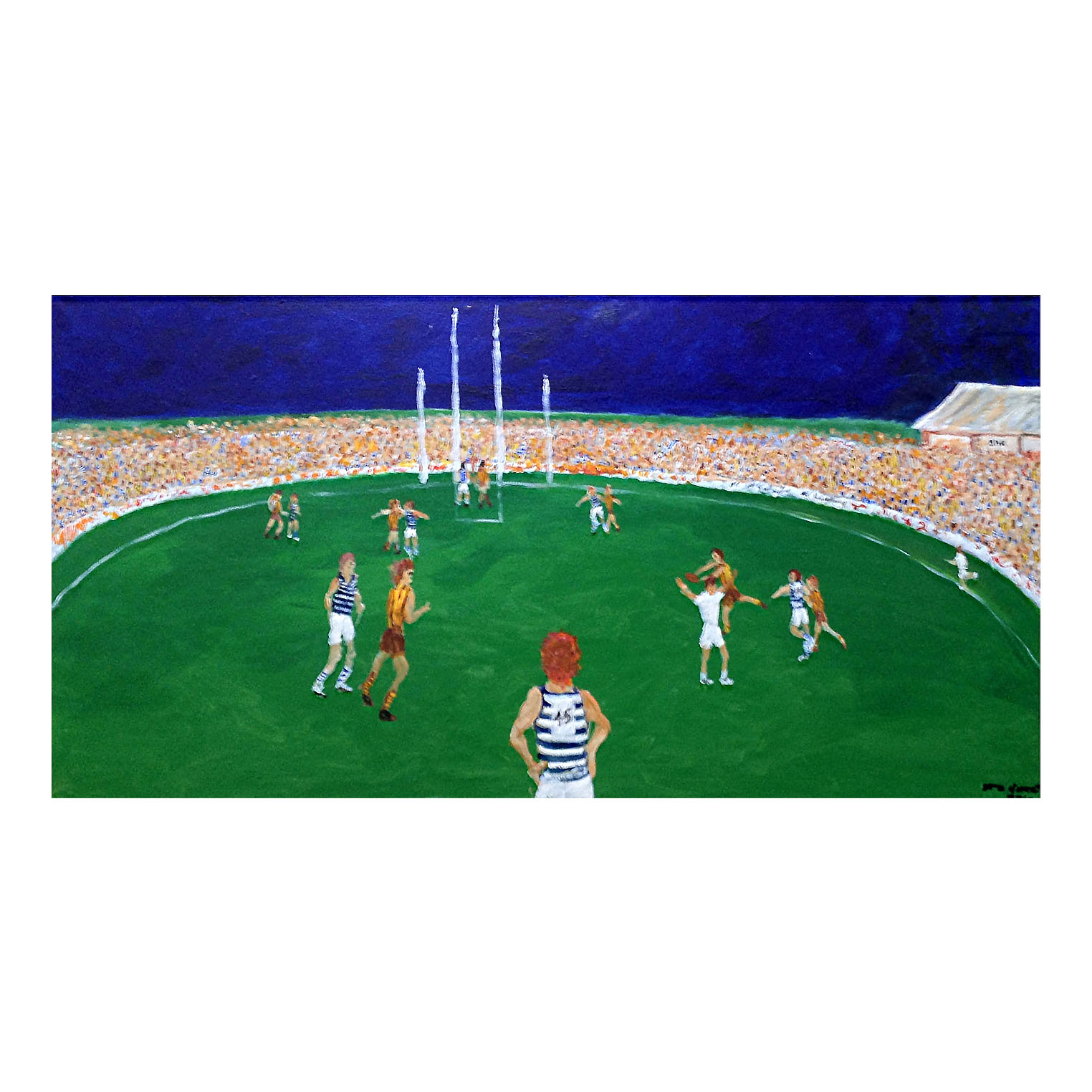 Footy art commissioned by Australian artist Steve Baker