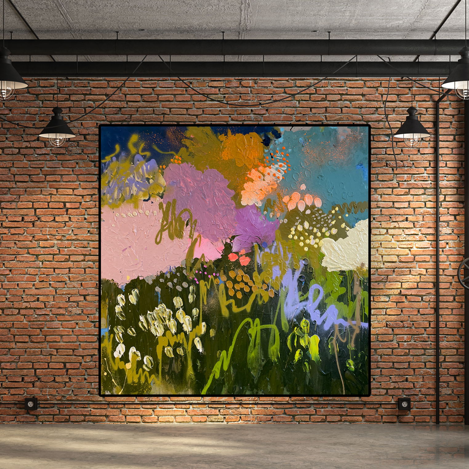 200cm Painting 'Summer Fields' Baker Collection